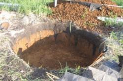 Котлован для канализации из шин