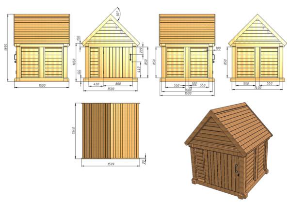 Чертеж домика с размерами